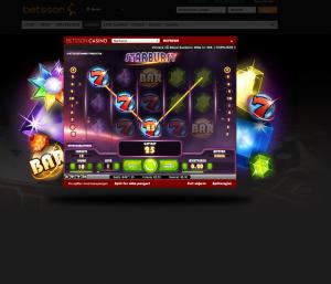 Spilleautomaten Starburst hos casinoet Betsson.
