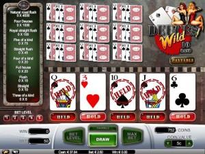 De fleste casinoer har ulike varianter av videopoker, her er Deuces Wild hos Betsson.